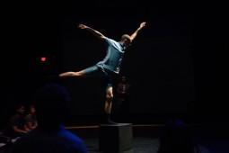 Dancer Simon Harrison. In back, dance on film